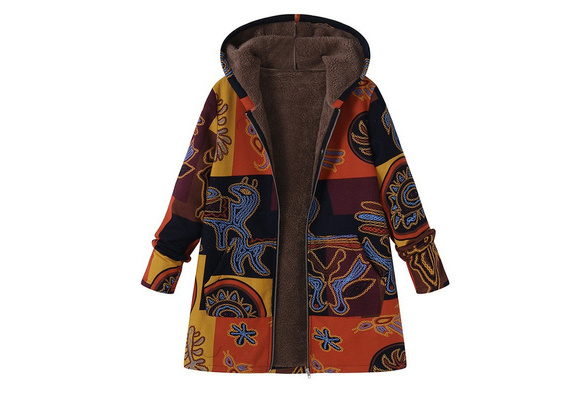 Ladies Winter Floral Printed Warm Parka Cotton Slim Zipper Hoodie Jacket Coat