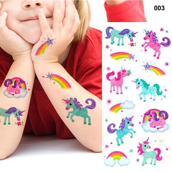Wish Waterproof Temporary Fake Tattoo Stickers Pink Unicorn Horse