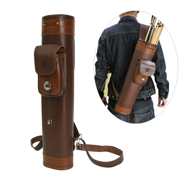 Archery Hunt Back Arrow Quiver Traditional Leather Belt Holder Bag Pouch Pack YY