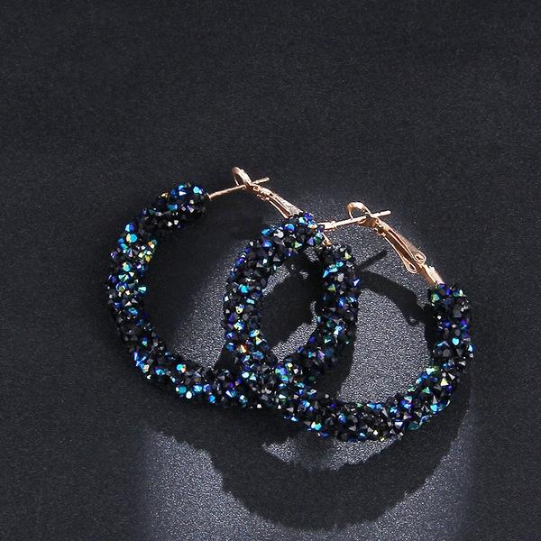 Hoop Earring, Dangle Earring, punk earring, Crystal