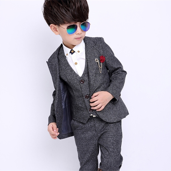 0a3b98e3e Kids Clothing Sets Boys Vest Three-piece Suits Ring Bearer Wasit ...