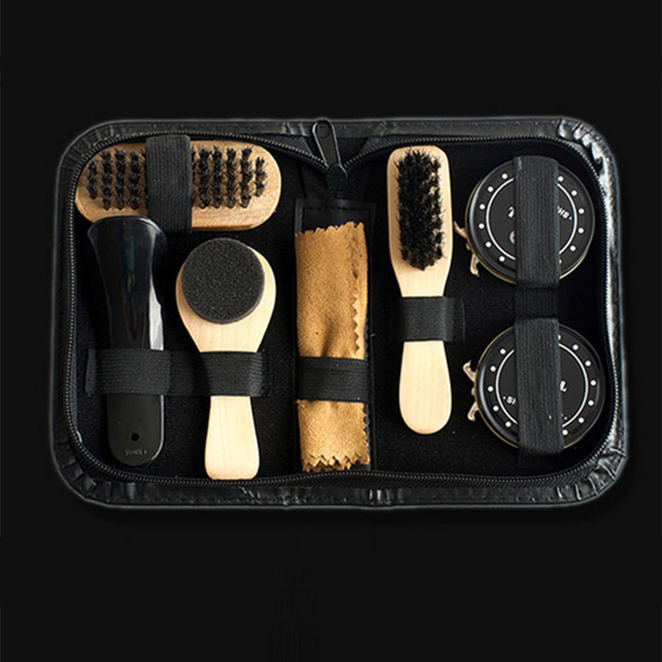 pretty cool best price store Shoe Shine Care Kit Black and Transparent Polish Brush Set for ...