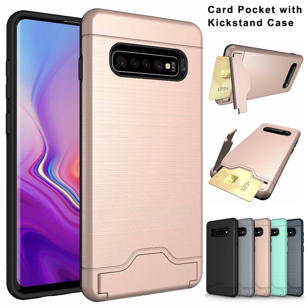 online store 2d864 e1ae2 For Samsung Galaxy S10 / S10 Plus / S9 / S9 Plus / S8 / S8 Plus Case  Brushed Texture Card Pocket & Kickstand Hybrid Shockproof Protective Cover