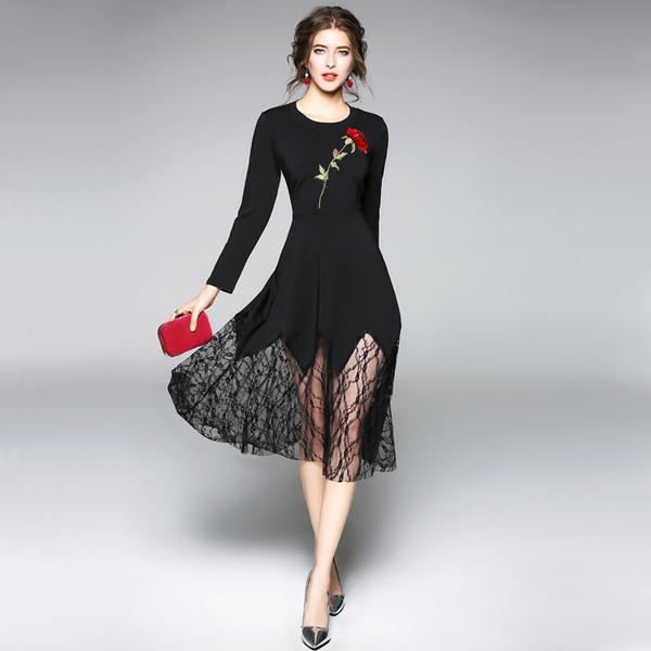 Womens Sexy Hollow Out Floral Black Lace Dress Red Rose Embroidery Fishtail Dress