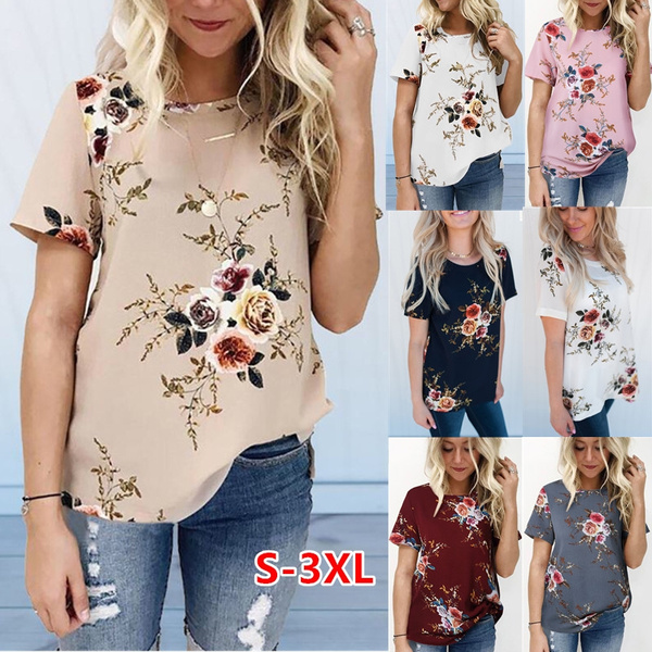 NEW Womens Casual Tops Blouse Short Sleeve Crew Neck Floral T-Shirt Ladies