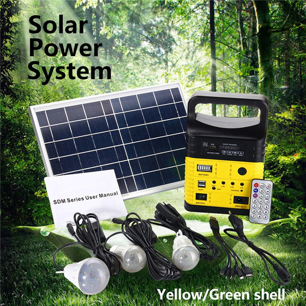 Solar Panel Lighting Kit Home Dc System Usb Charger With 3 Led Light Bulb As Emergency And 5 Mobile Phone 5v 1 5a