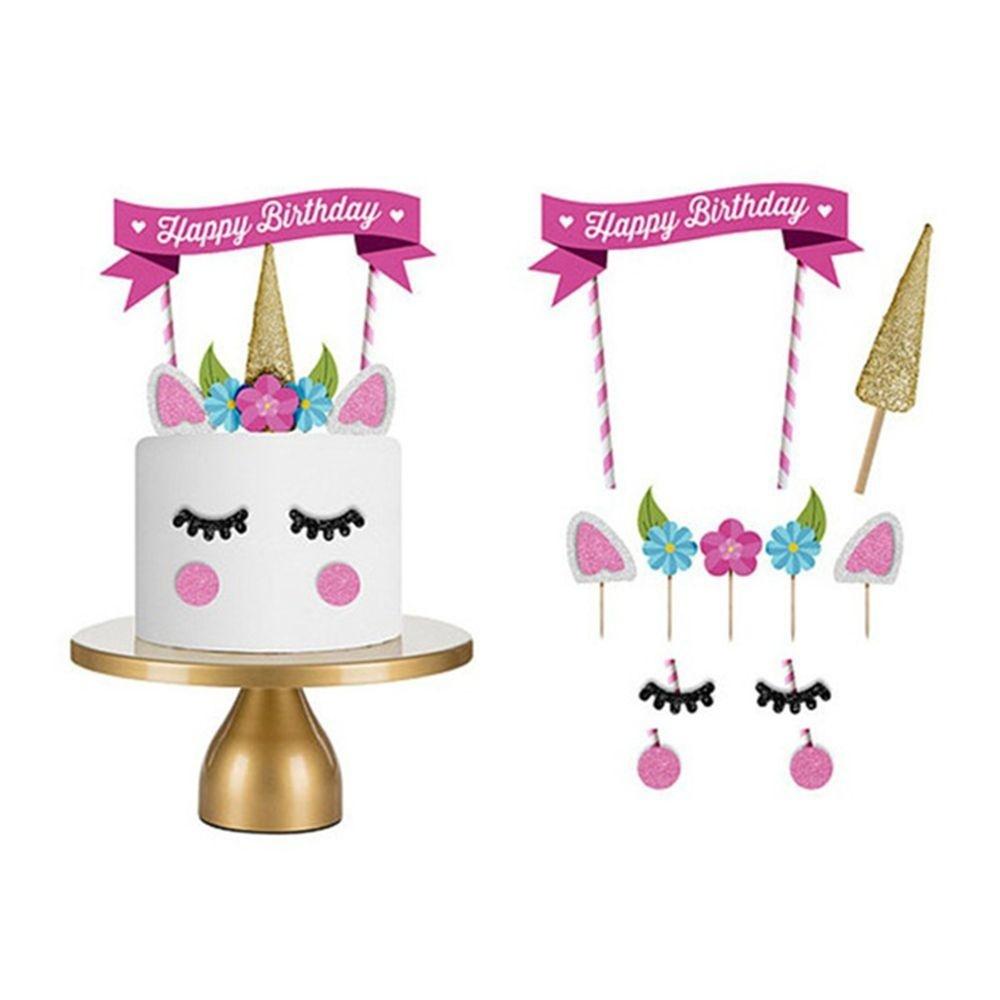 Cute Party Flag Bunting Cake Decor Banner Happy Birthday Unicorn Horse