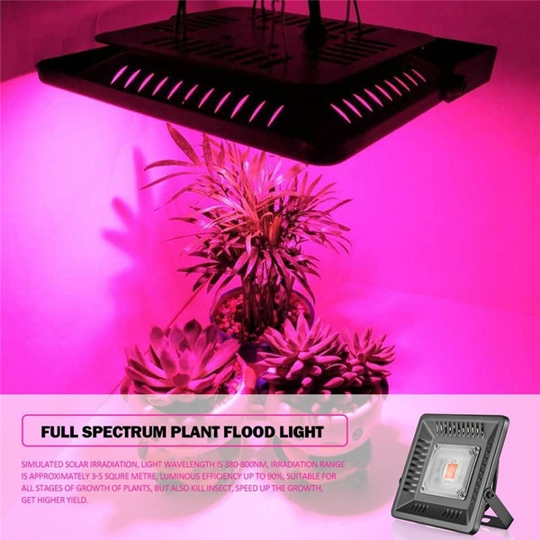 Greenhouse Grow Light 50W Plants Growing Lamps 300-830nm Waterproof LED  Grow Light Full Spectrum Flower Lamp Hydroponics Lamp 180° Rotate Dual-use