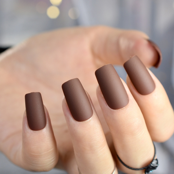 Wish | 24pcs Chocolate Brown Finished Nail Tips Square Medium Full ...