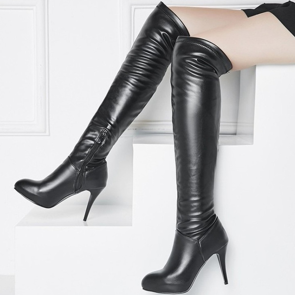 5bd864f8a9583 New Ladies Thigh High Boots Over knee Boot Sexy Stiletto High Heels Fashion  Shoes PU Leather Wrinkles Casual Footwear Color White Black Plus Size ...