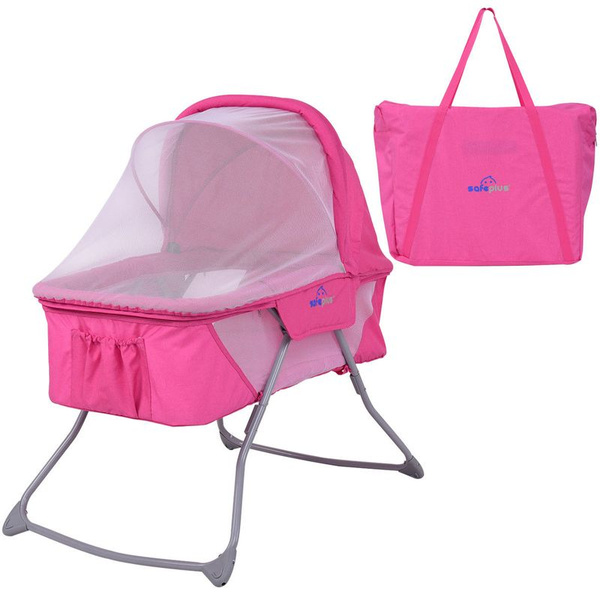 Baby Bassinet Lightweight Foldable Rocking Bed with Mosquito Net /& Carrying Bag