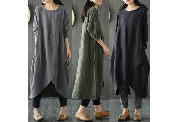 Spring New Women Crew Neck Long Sleeve  Asymmetric Hem Cotton linen Loose Long Dress With Pockets