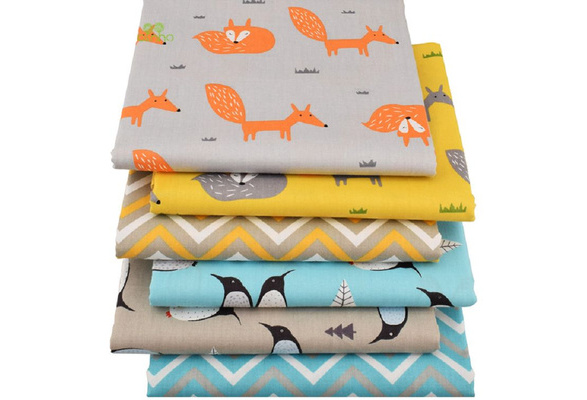 6 pcs/lot Cartoon Printed Twill Cotton Fabric, DIY handmade crafts/ patchwork fabric  Quilting fabric  Toys Material