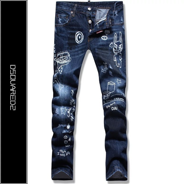 bf794a4dd6a4d Wish   dsquared jeans men s fun monster graffiti painting Slim D2 jeans
