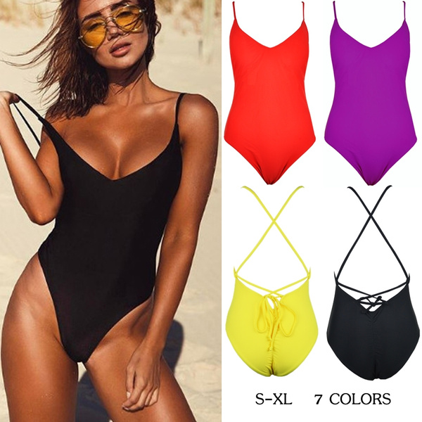 d2f184ab3775 Sexy Women's Swimwear One Piece Swimsuit Monokini Push Up Padded V ...