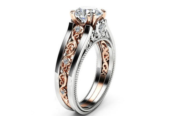 Vintage Round Cut 2.1CT Clear Diamond 14K Rose Gold Filled & 925 Sterling Silver Gift Wedding Engagement Ring Size 5-12