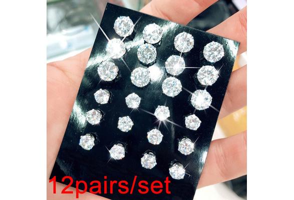 12Pairs/ Set Geometric Crystal Wedding Elegant Stud Earrings Set Charm Simple Women Alloy Silver Zircon Earring Sets Jewelry Accessories Gifts