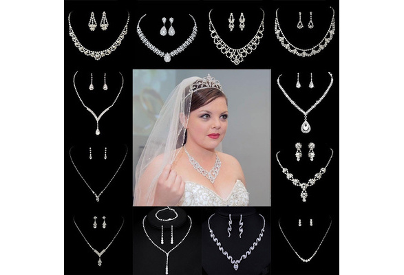 Women Silver Plated Rhinestone Crystal Collar Necklace Earrings Wedding Bridal Jewelry Set for Prom Party