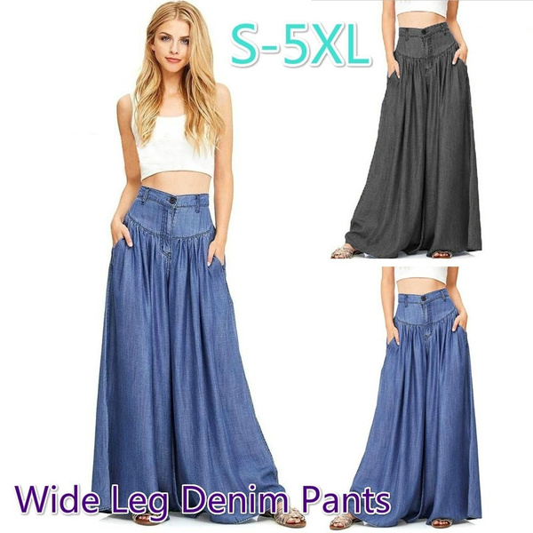 23d0d424a8 New Fashion Womens Wide Leg Denim Pants Ladies Casual Loose Denim Skirt  Pant Plus Size S-5XL (Dark Blue & Black) | Wish