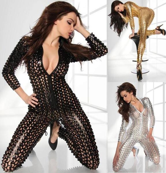 Women Sexy Shiny Leather Latex Jumpsuit Hollow Out Hole DJ Dance Catsuit  Exotic Clubwear PVC Bodysuit 0347