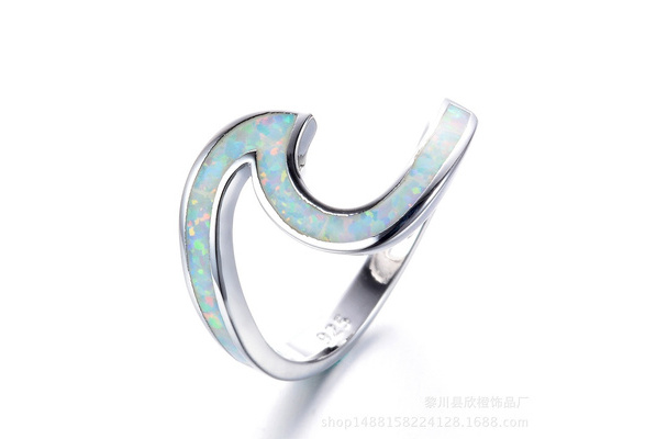Wave Ocean Beach Lab Created Blue Opal .925 Sterling Silver Ring sizes 6-10
