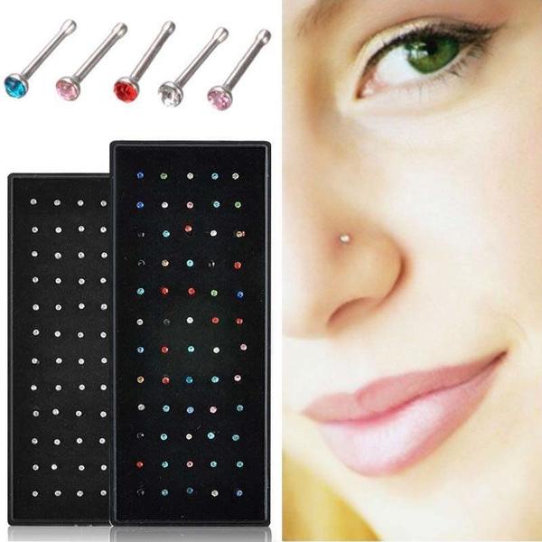 DIAMOND, Stainless Steel, nosejewelery, Rhinestone
