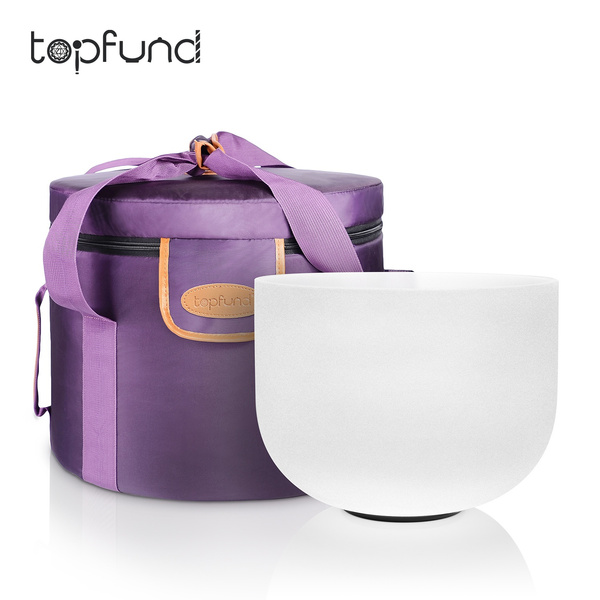 TOPFUND C Note Root 1st Chakra Aries Frosted Quartz Crystal Singing Bowl 12  inch- Best and Highest Quality Sound & Material