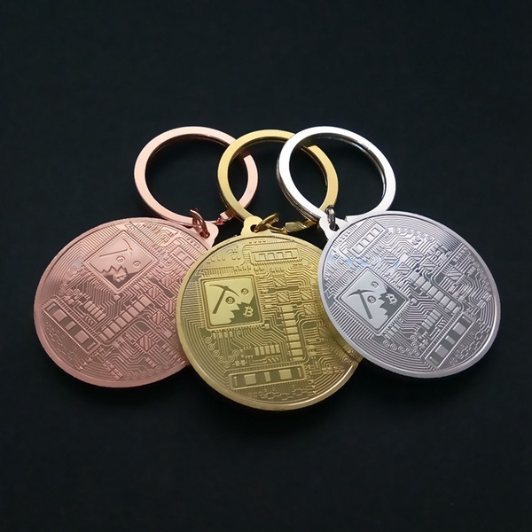 Jewelry Copper Plated Commemorative Bitcoin Key Chain Collectors Key Ring