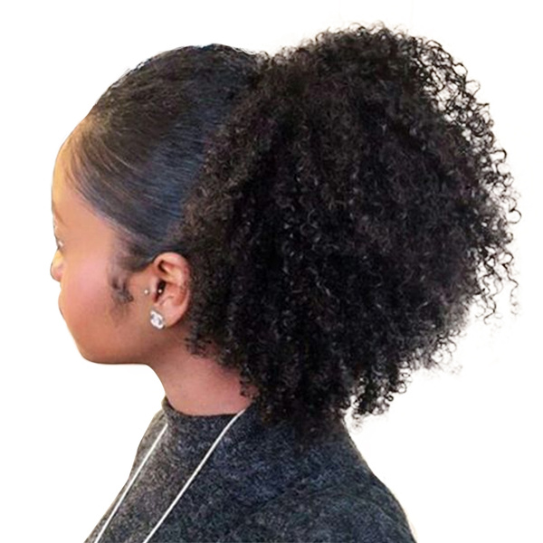 Wish 4b 4c Afro Kinky Curly Ponytails Extensions Clip In Virgin