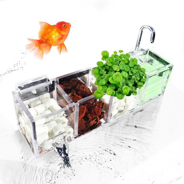 2-6 Grids Acrylic External Hang On Filter Box Aquarium Fish Tank w// Water Pump !