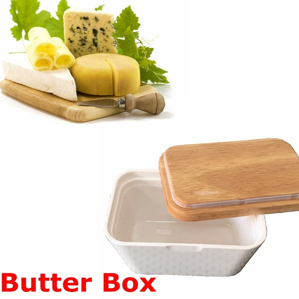 Butter Box Dish With Lid Holder Serving Storage Container Wood Melamine  Cheese Keeper Tray