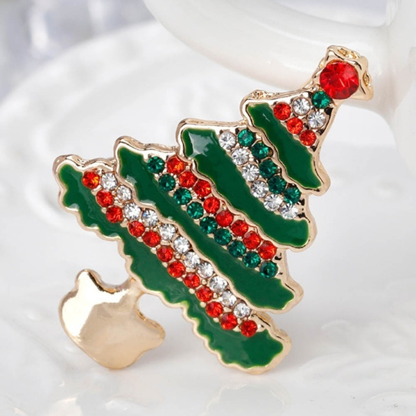 Christmas Brooches And Pins.Fashion Women Ladies Christmas Brooch Multicolor Rhinestone Christmas Tree Brooch Pin Corsage Jewelry Gift