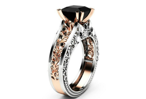 Princess Black Diamond Engagement Ring 14K Rose Gold and 925 Sterling Silver Wedding Bridal Rings size 5-12