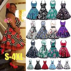 Swing dress, Plus Size, Print, Vintage