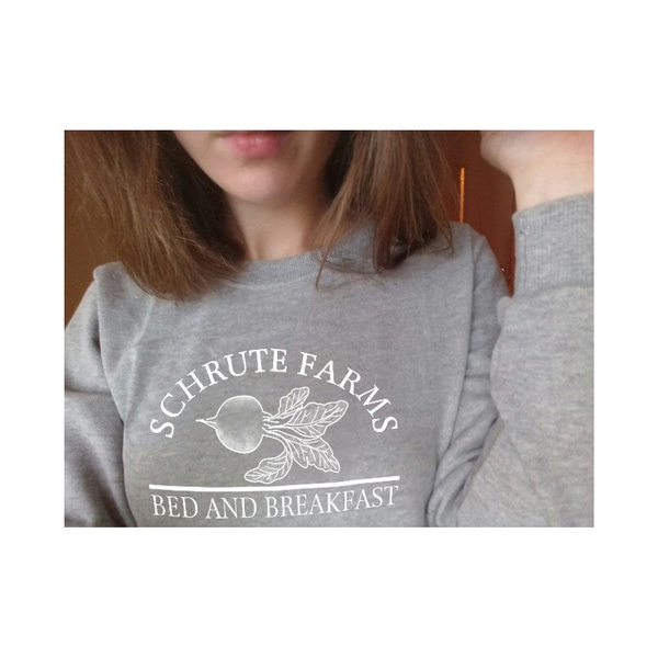 f9070e50 Schrute Farms Letter Printed Women Fashion Sweatshirt Dunder Mifflin ...