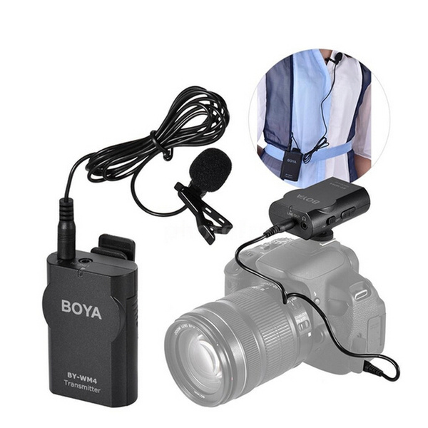 BOYA BY-WM4 2 4GHz Wireless Lavalier Lapel Mic Microphone System Support  Real-time Monitor with Hard Case for Canon Nikon Sony DSLR Camera Camcorder