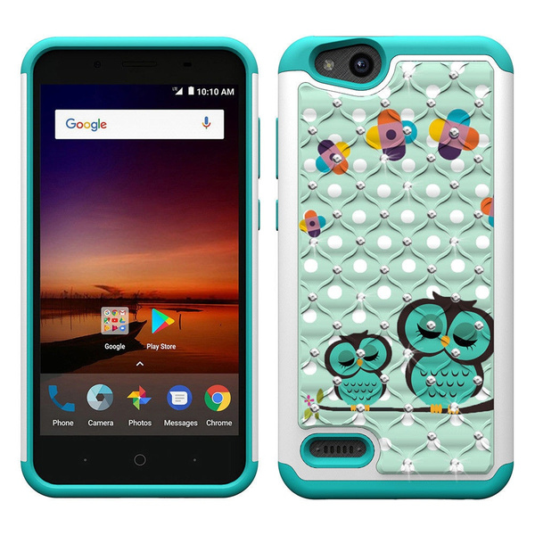 finest selection 38f0b a481d ZTE Tempo X N9137 Case, ZTE Avid 4 Case, ZTE Blade Vantage Z839  Case,Studded Rhinestone Crystal Bling Hybrid Armor Defender Protective Case  Cover