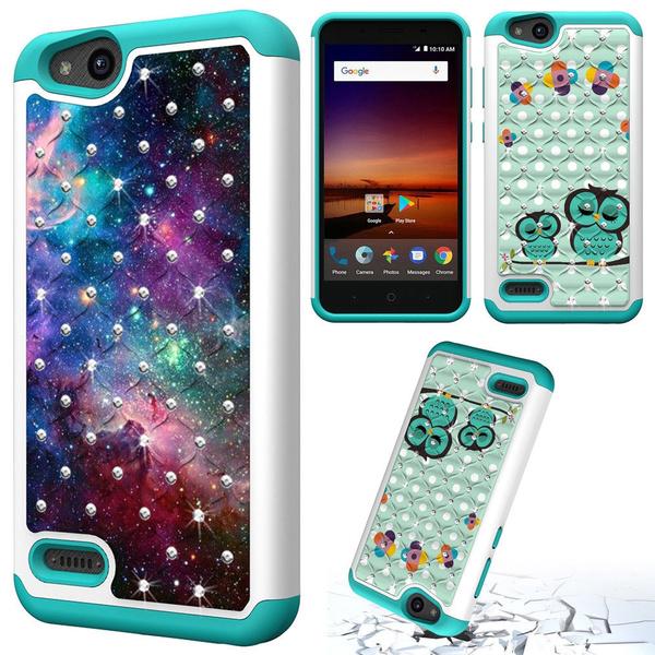 For ZTE ZFive G LTE Z557BL/ZTE ZFive C Z558VL/ZTE Avid 4/ZTE Fanfare 3 /ZTE  Blade Vantage/ZTE Tempo X/ZTE Tempo Go Glitter Bling Hybrid Phone Case