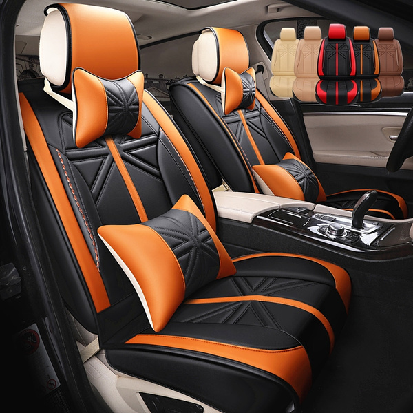 Admirable Color Matching Universal Leather Car Seat Covers Full Set Car Seat Cushion Leather Car Seat Protector Inzonedesignstudio Interior Chair Design Inzonedesignstudiocom