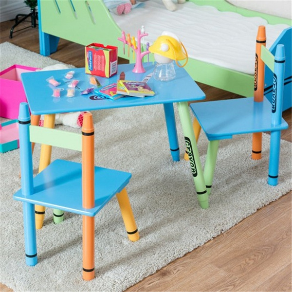 Cool 3 Pcs Wood Crayon Kids Table Chairs Set Ocoug Best Dining Table And Chair Ideas Images Ocougorg