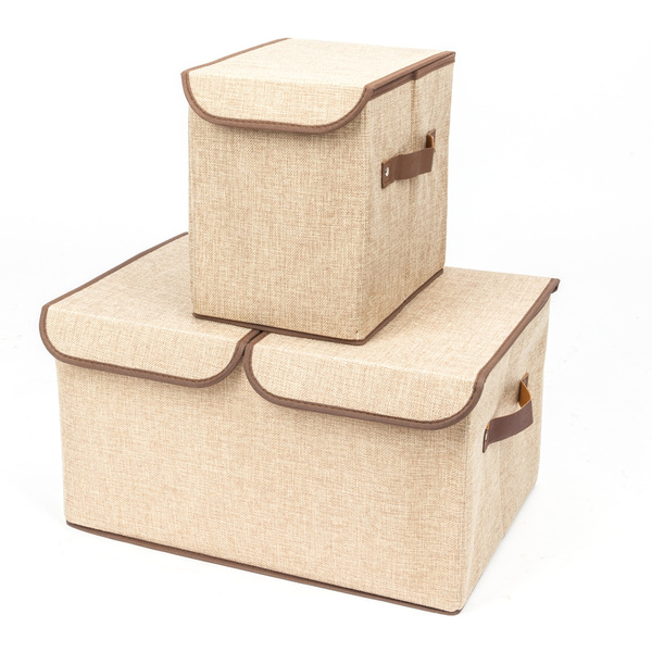 2pcs Foldable Square Fabric/Canvas Storage Box Shelf Collapsible Tidy  Organizer
