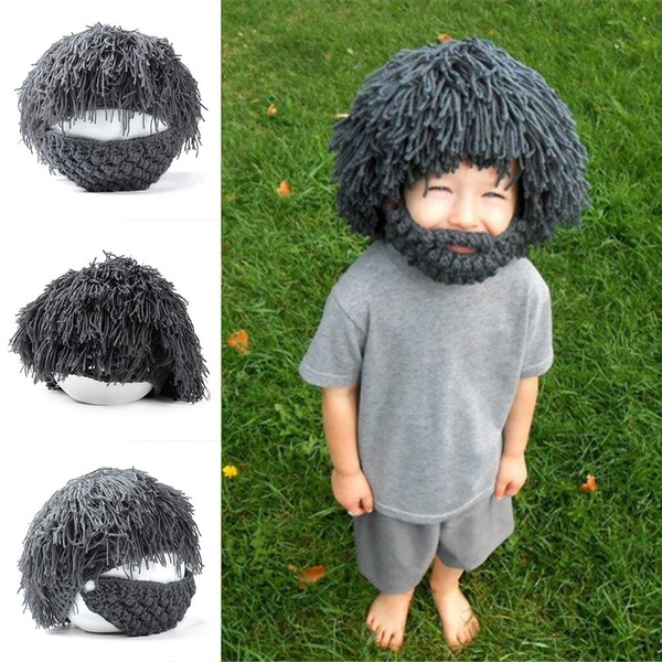 38ea3254eee Creative Adult Kids Barbarian Knit Crochet Hat Mad Scientist Wig ...