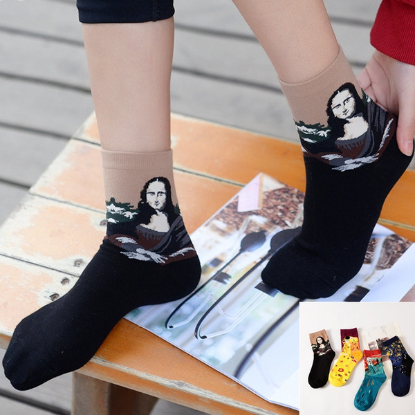 9e732ccbaf421 2018 Fashion Retro Women Men Van Gogh Mural Christmas Abstract Oil Painting  Mona Lisa Art Socks Funny Comfortable Breathable Socks