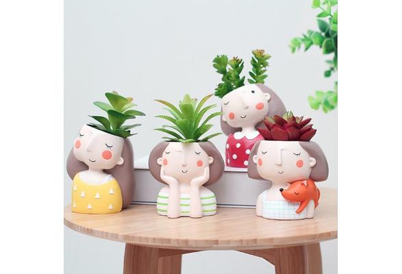 Succulent Plant Pot Cute Girl Flower Planters Flower Pot Create Design Home Garden Bonsai Pots Birthday Gift