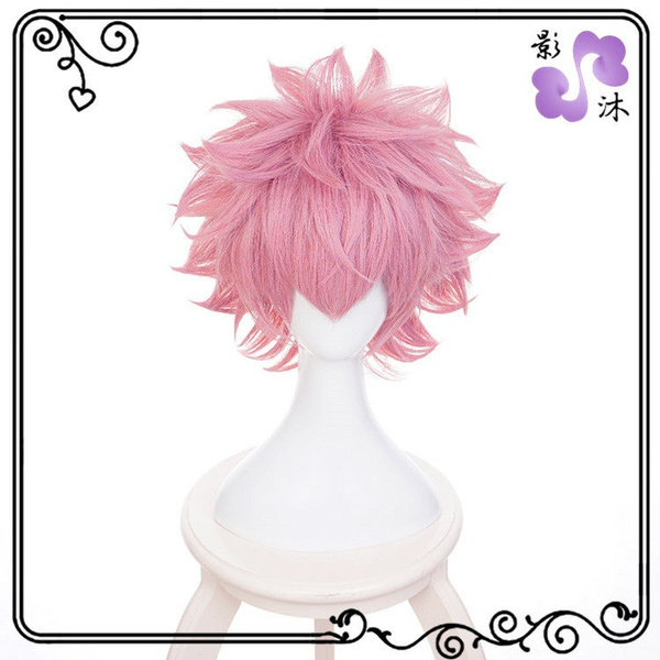 My Boku No Hero Academia Ashido Mina Short hair wig Pink Cosplay Costume Wigs