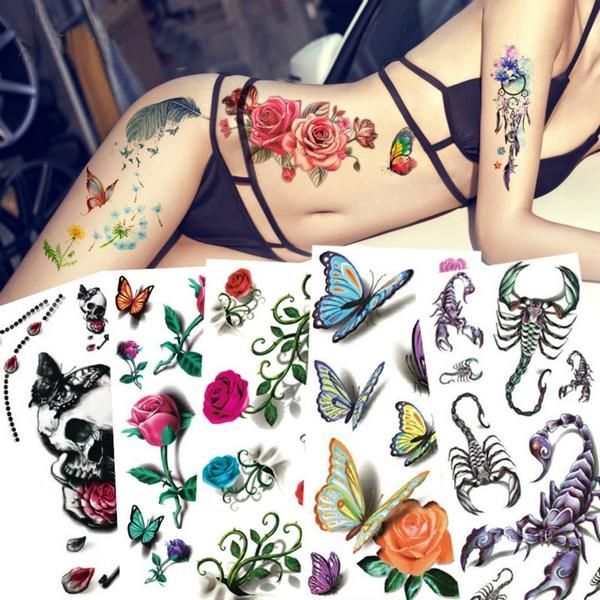 761912a7a9b6a Sexy 3D Tattoo Sticker Flying Butterfly Rose Flower Body Art Decals ...