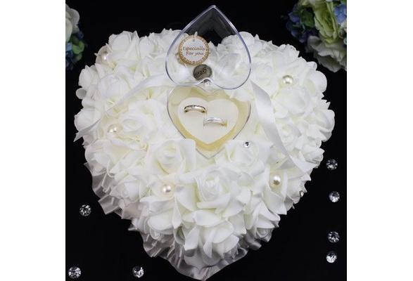 Romantic White Satin Flower Wedding Party POCKET Ring Bearer Pillow Cushion