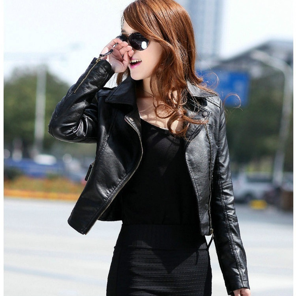 7d04baaea Women Leather Jacket Red Black PU Motorcycle Jackets Plus Size