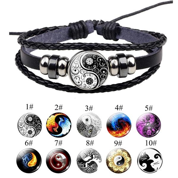 Yin Yang Bracelet Black And White