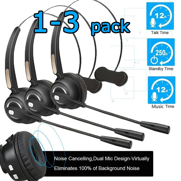 Pro Truck Driver Headset Bluetooth Phone Headset With Microphone 12hrs Talk Time Office Bluetooth Headset With Noise Canceling Bluetooth Headphones For Cell Phone Computer Car Call Center Support Music 1 3 Pack Wish